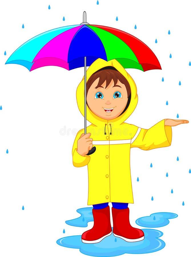 Rapaz pequeno na chuva com guarda-chuva ilustração do vetor
