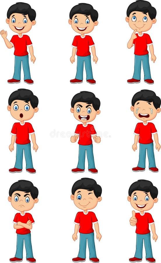 Rapaz pequeno na vária expressão isolado no fundo branco ilustração do vetor