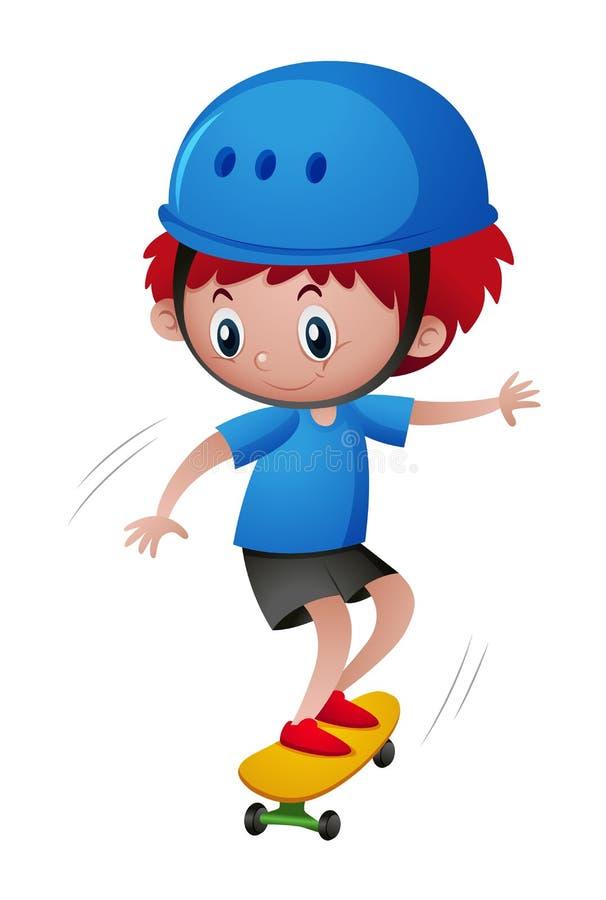 Rapaz pequeno no capacete azul que joga o skate ilustração royalty free