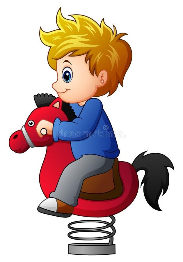 Rapaz pequeno no cavalo de balanço ilustração do vetor