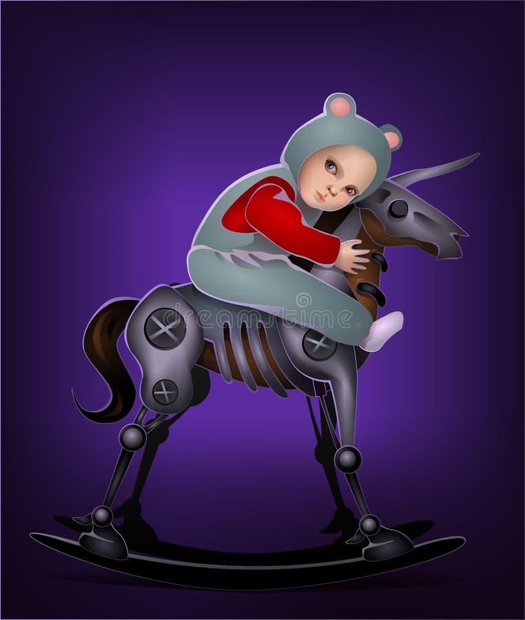 Rapaz pequeno no cavalo do robô ilustração royalty free