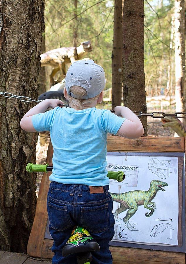 Rapaz pequeno no fundo dos sinais com a descrição de um dinossauro no parque dos dinossauros foto de stock royalty free