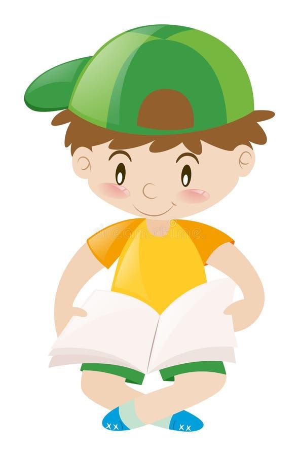 Rapaz pequeno no livro de leitura amarelo da camisa ilustração royalty free