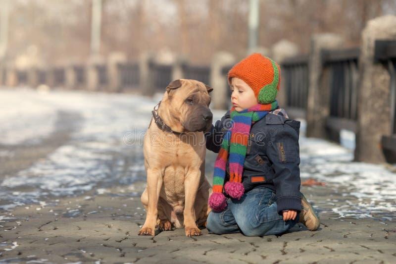 Rapaz pequeno no parque com seus amigos do cão fotos de stock royalty free