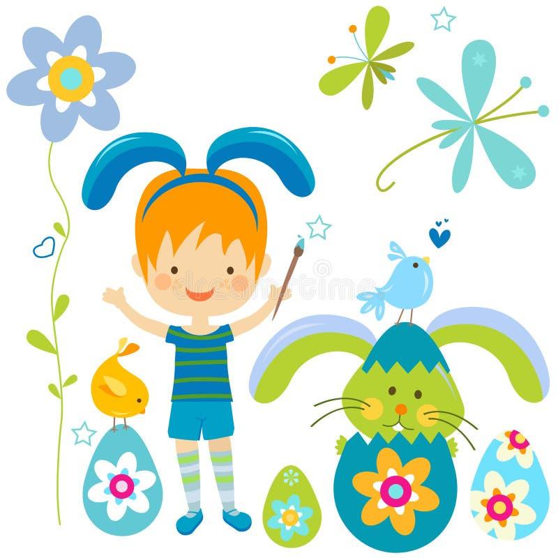 Rapaz pequeno no traje do coelho ilustração do vetor