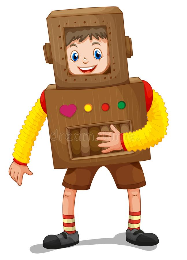 Rapaz pequeno no traje do robô ilustração stock
