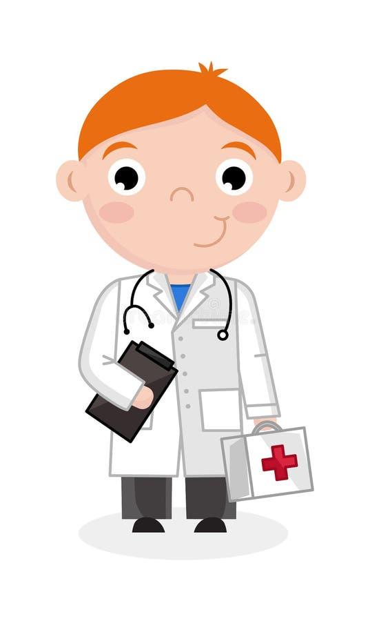 Rapaz pequeno no uniforme do doutor com estetoscópio ilustração royalty free