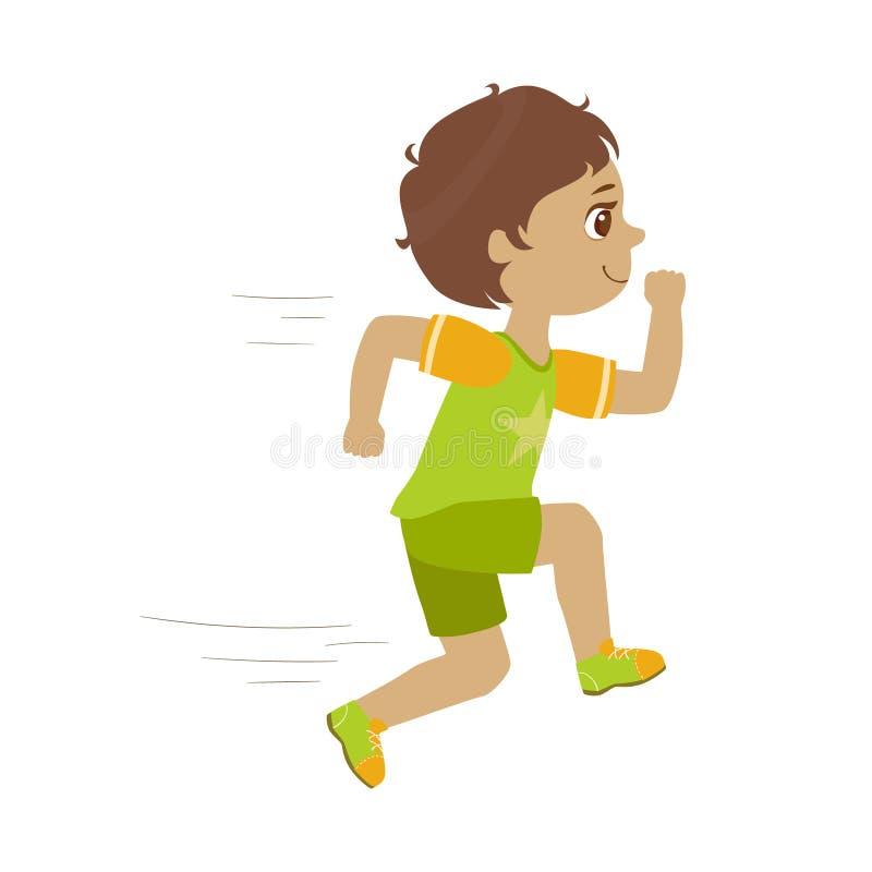 Rapaz pequeno que corre em uma camisa verde e no short, criança em um movimento, um caráter colorido ilustração do vetor