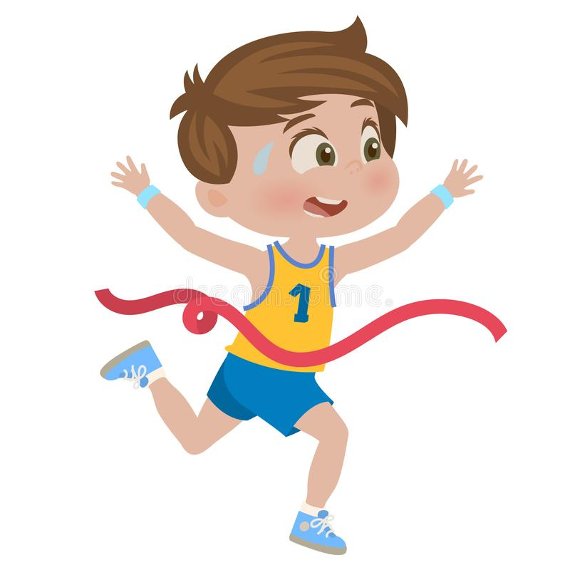Rapaz pequeno que corre uma raça ilustração do vetor