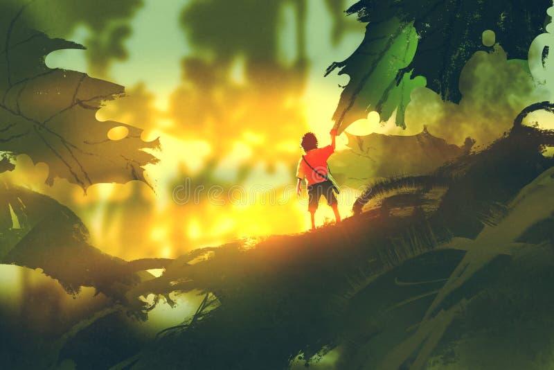 Rapaz pequeno que está nas folhas do gigante que olham a luz solar ilustração stock