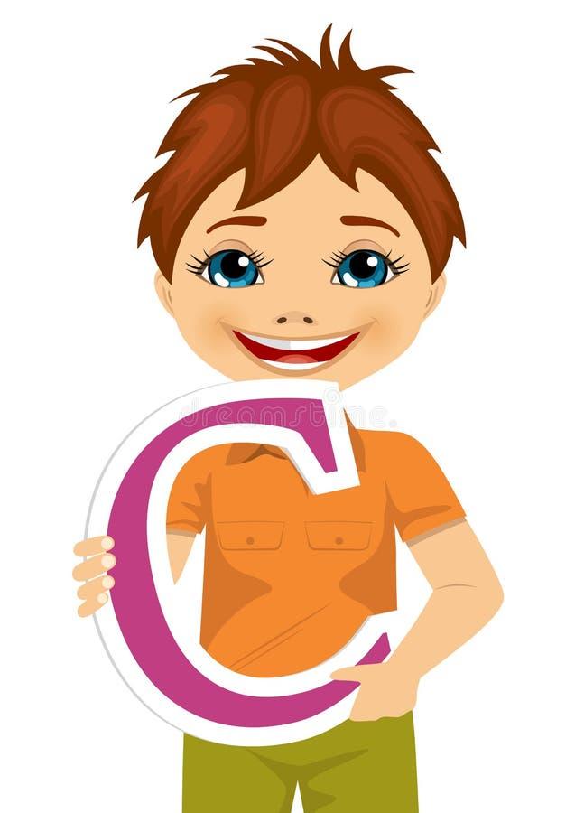 Rapaz pequeno que guarda a letra de c ilustração royalty free