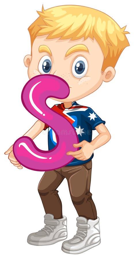 Rapaz pequeno que guarda a letra S ilustração royalty free