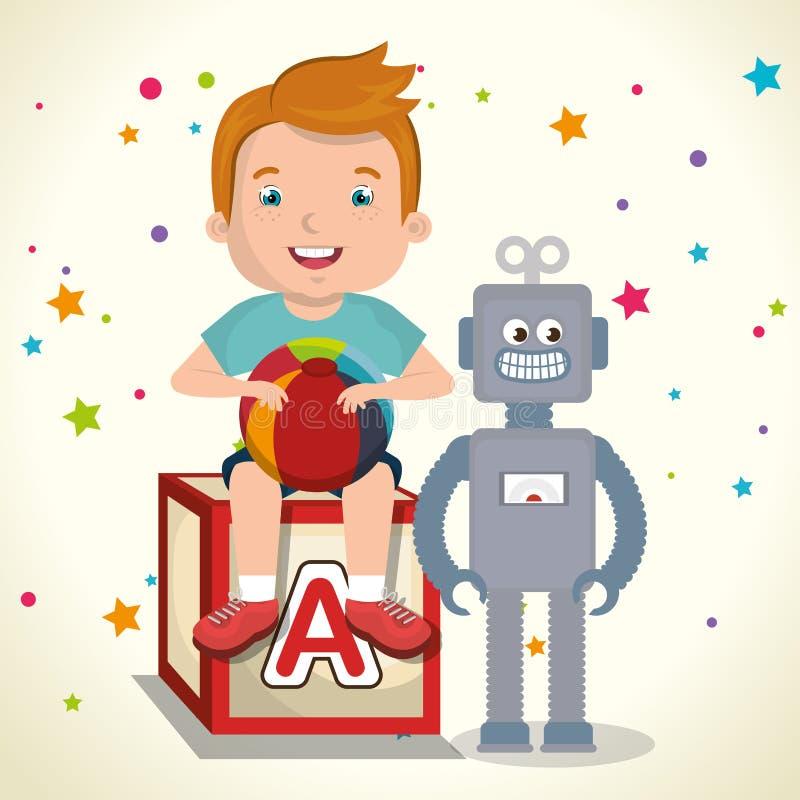 Rapaz pequeno que joga com caráter dos brinquedos ilustração stock