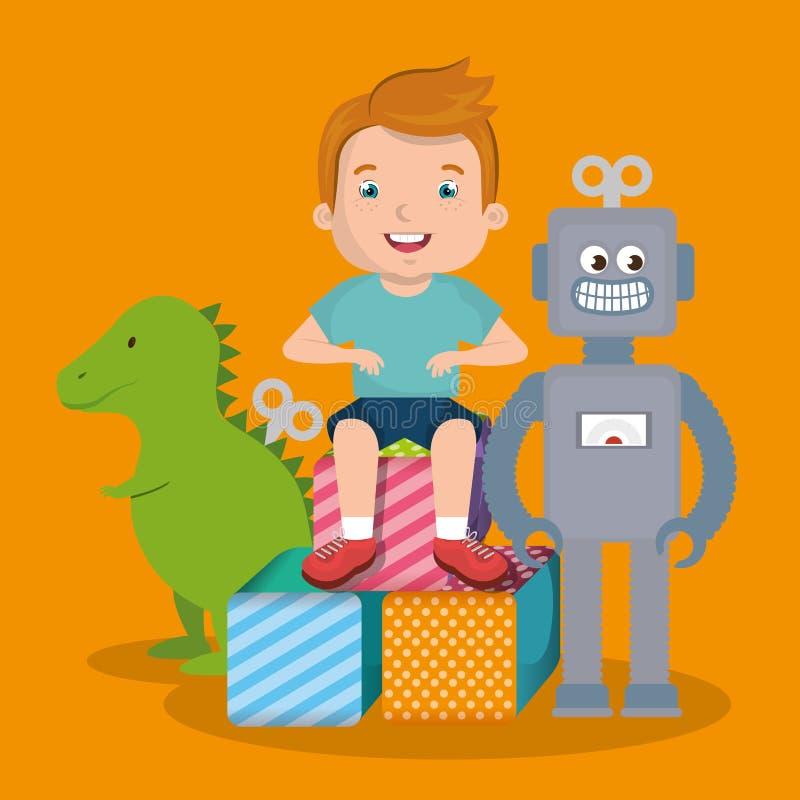 Rapaz pequeno que joga com caráter dos brinquedos ilustração do vetor