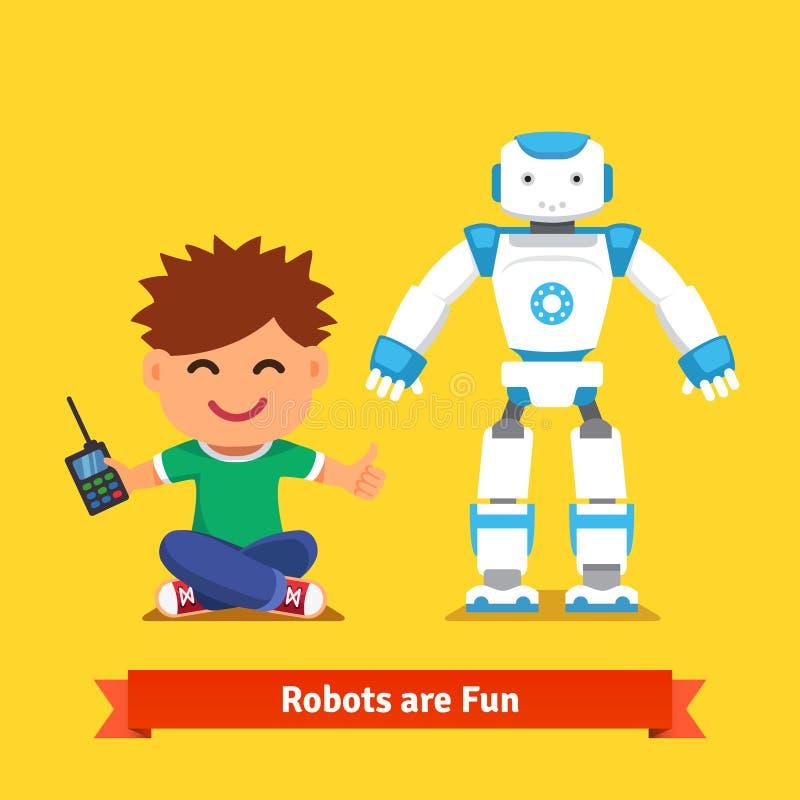 Rapaz pequeno que joga com robô de controle remoto ilustração royalty free