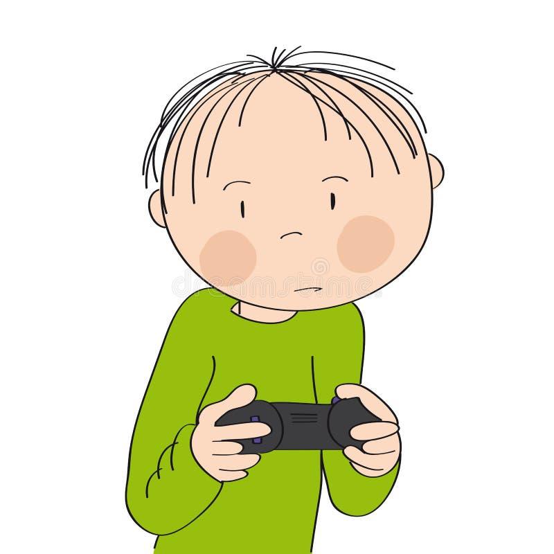 Rapaz pequeno que joga jogos de v?deo no console do jogo, manche da terra arrendada, muito sendo concentrado ilustração do vetor