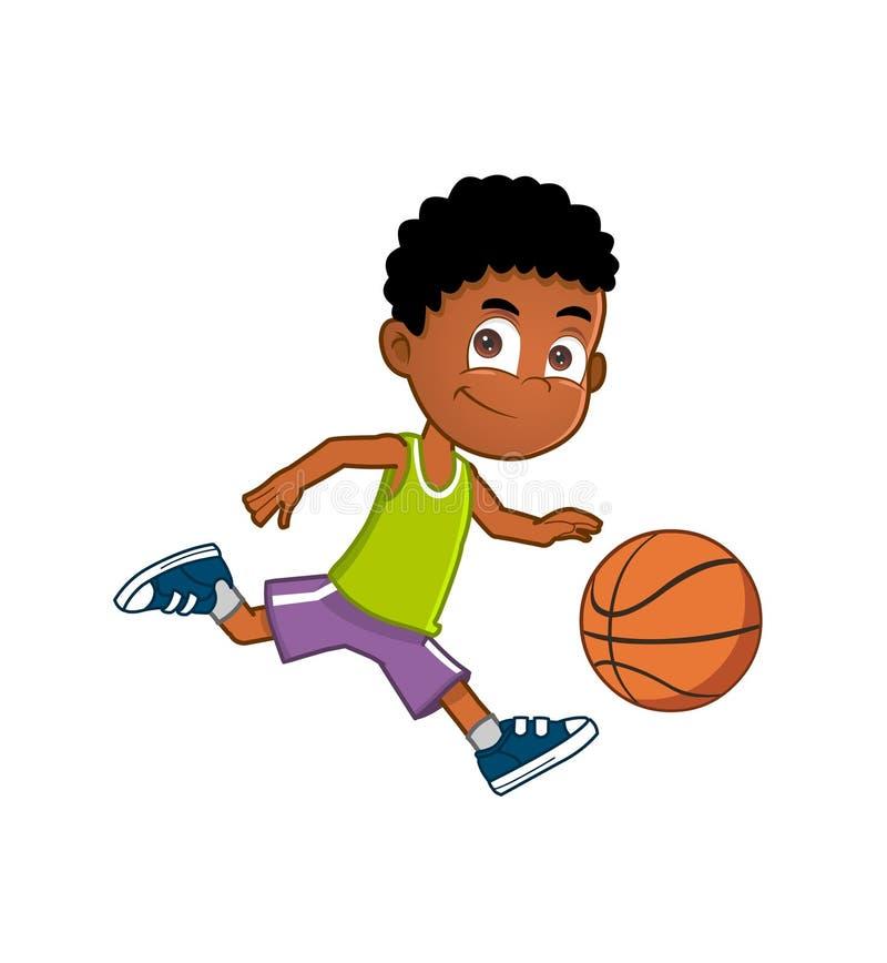 Rapaz pequeno que joga o basquetebol ilustração stock