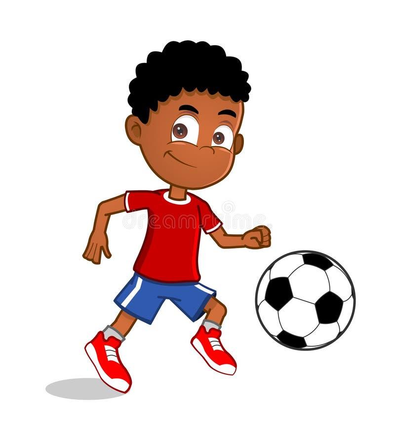 Rapaz pequeno que joga o futebol ilustração do vetor