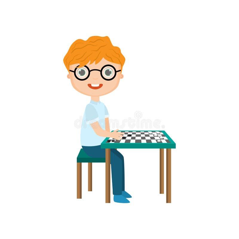 Rapaz pequeno que joga a xadrez isolada contra o fundo branco ilustração stock