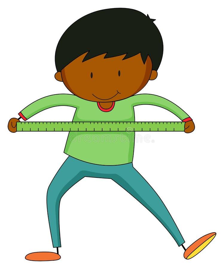 Rapaz pequeno que mede com régua ilustração do vetor