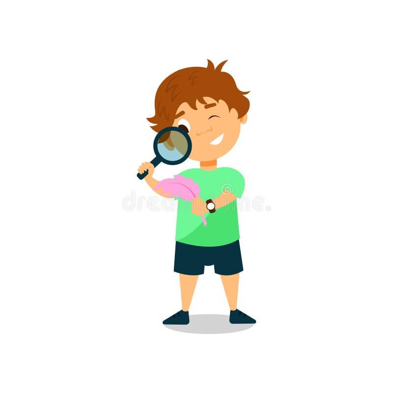 Rapaz pequeno que olha através da ilustração do vetor da lupa em um fundo branco ilustração stock