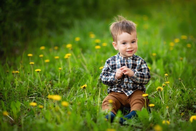 Rapaz pequeno que senta-se no prado de floresc?ncia fotos de stock royalty free