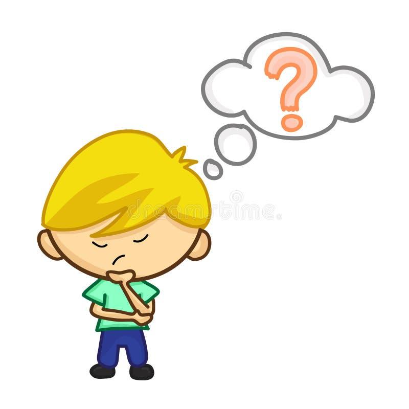 Rapaz pequeno que tem dúvidas ilustração stock