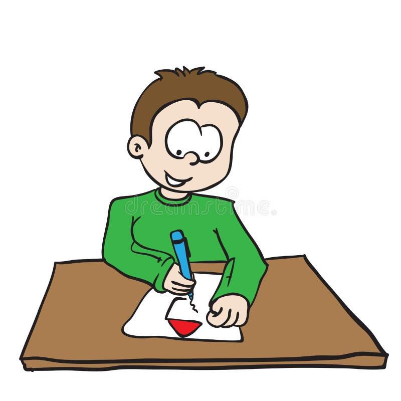 Rapaz pequeno que tira uma casa ilustração royalty free