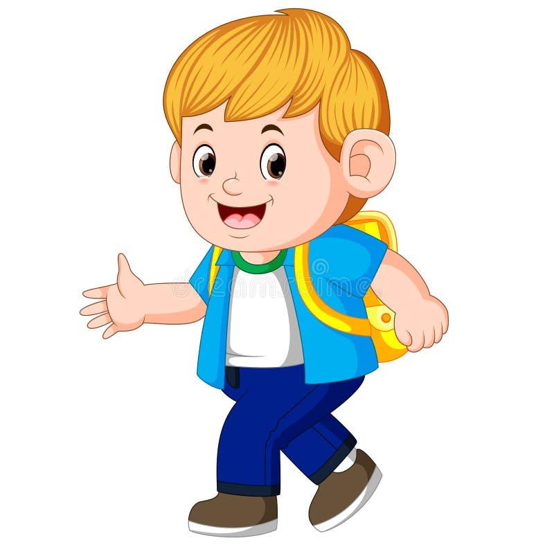 Rapaz pequeno que vai à escola ilustração royalty free