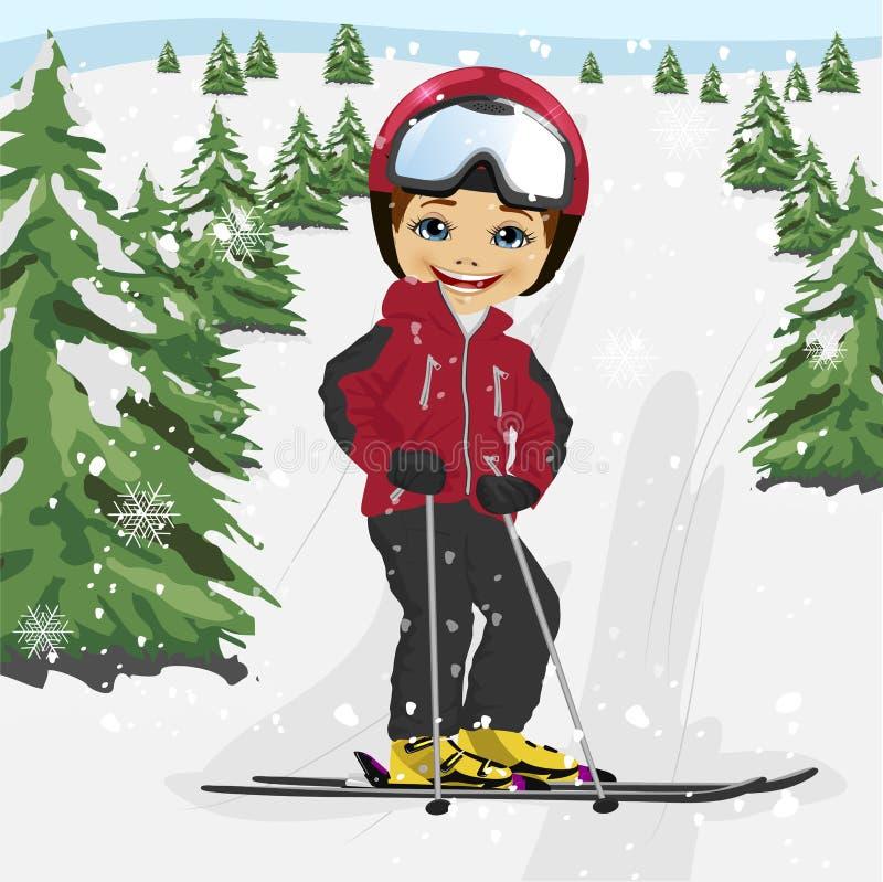 Rapaz pequeno que veste o revestimento de esqui vermelho e um esqui do capacete na estância de esqui ilustração royalty free