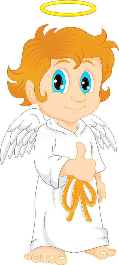 Rapaz pequeno vestido como um anjo ilustração stock