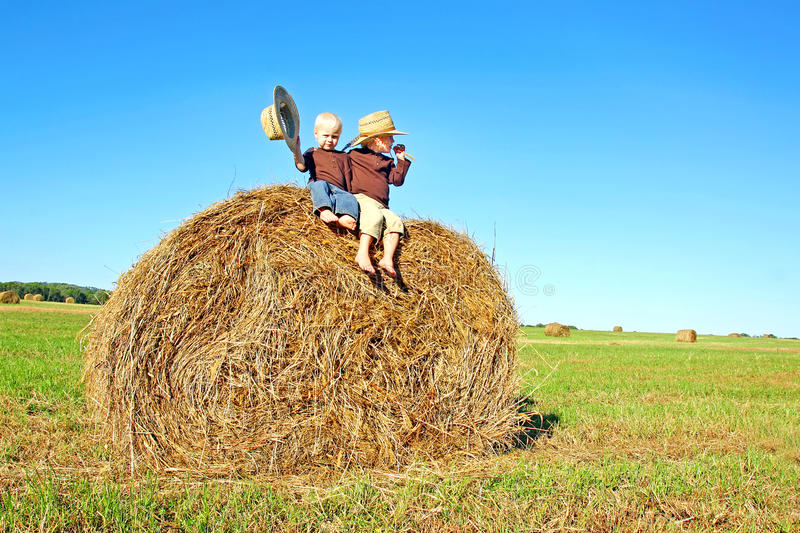 Rapazes pequenos felizes que sentam-se em Hay Bale grande no campo de exploração agrícola foto de stock