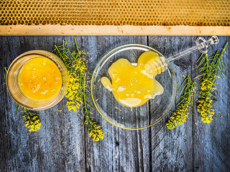 honey with fresh blooming plant and honeycomb on blue rustic wooden background royalty free stock photos