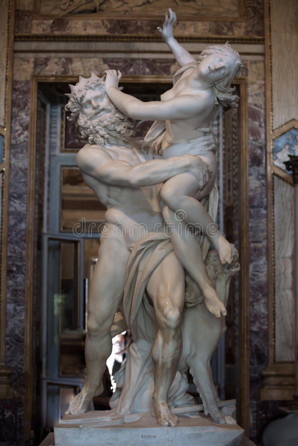 Of Proserpine by Gian Lorenzo Bernini. Baroque marble sculptural group by Italian artist Gian Lorenzo Bernini, of Proserpine in Galleria Borghese, Rome, Italy stock photo