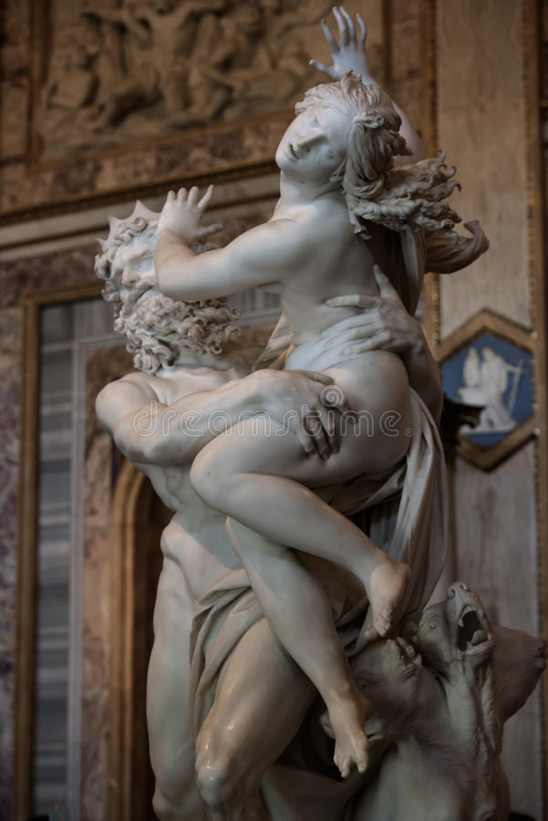 Of Proserpine by Gian Lorenzo Bernini. Baroque marble sculptural group by Italian artist Gian Lorenzo Bernini, of Proserpine in Galleria Borghese, Rome, Italy stock image