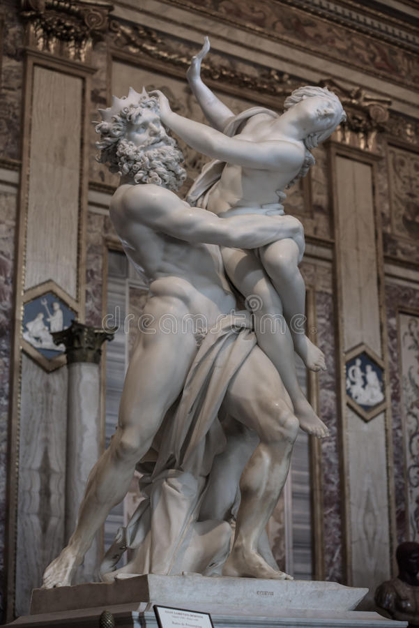 Of Proserpine by Gian Lorenzo Bernini. Baroque marble sculptural group by Italian artist Gian Lorenzo Bernini, of Proserpine in Galleria Borghese, Rome, Italy royalty free stock photography