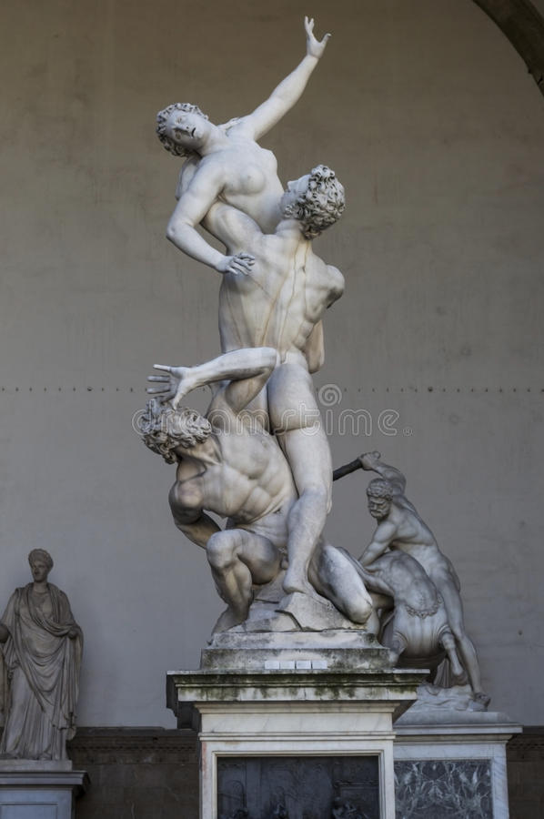 The of the Sabine women. The of Sabine Women in Signoria Square in florence stock image