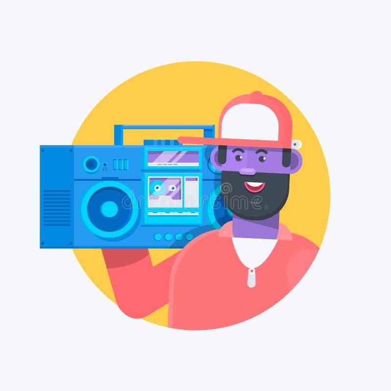 Rapera muzyk w baseball nakrętce z boombox Modny hip hop mężczyzna facet Płaska wektorowa charakter ilustracja royalty ilustracja