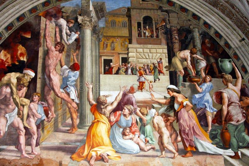 Raphael壁画在梵蒂冈 免版税库存照片