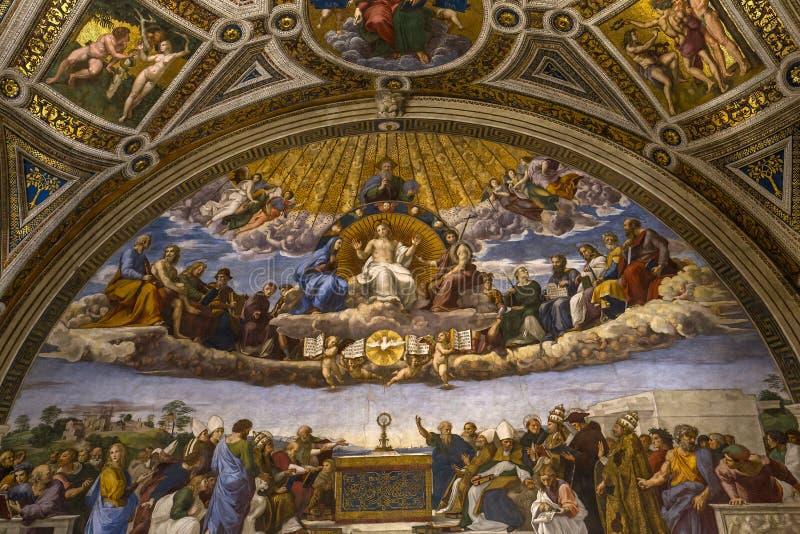 Raphael房间,梵蒂冈博物馆,梵蒂冈内部  免版税库存照片