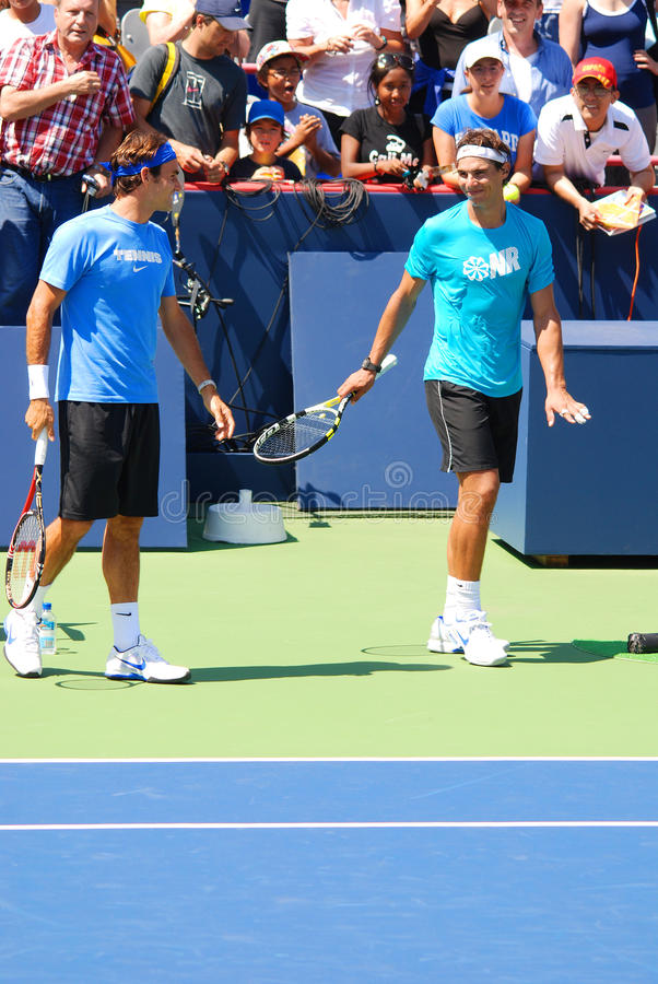 Raphael Nadal en Roger Federer stock afbeelding