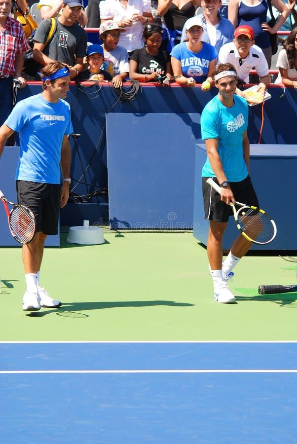 Raphael Nadal et Roger Federer images libres de droits