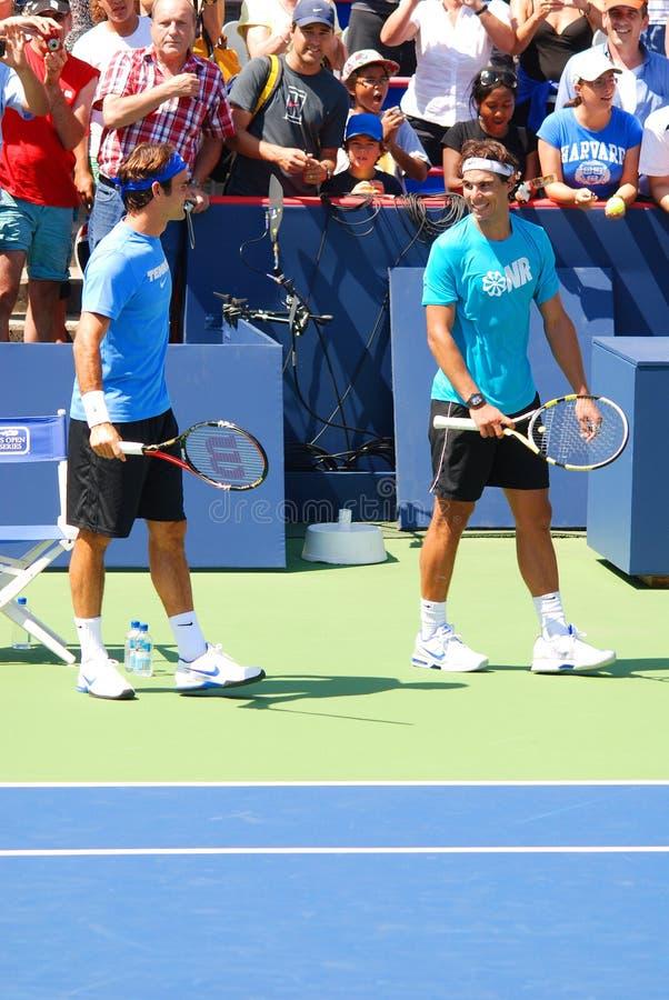 Raphael Nadal et Roger Federer images stock