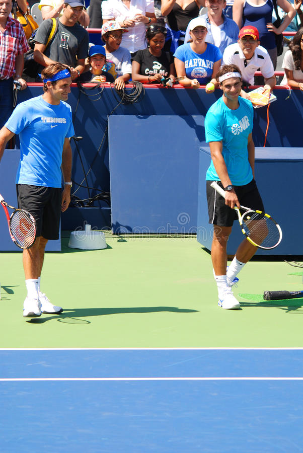 Raphael Nadal and Roger Federer royalty free stock images