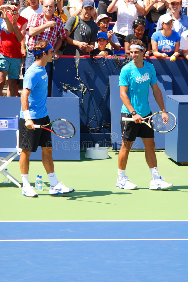 Raphael Nadal y Roger Federer imagenes de archivo