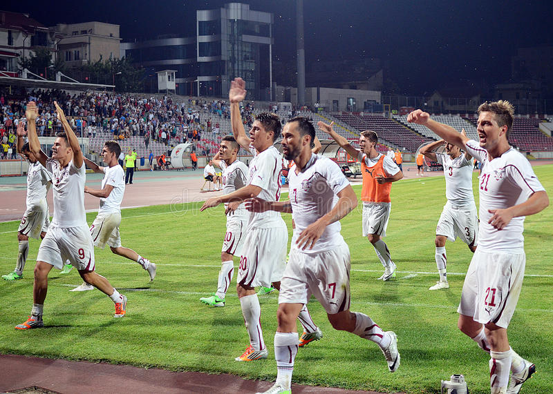 Rapid Bucharest players celebrate victory