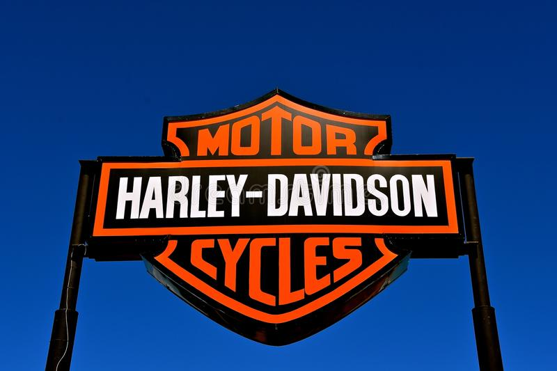 Harley Davidson outdoor sign and logo. RAPID CITY, SOUTH DAKOTA, May 23, 2018: The outdoor Harley Davidson sign is the brand for an American motorcycle company royalty free stock photos