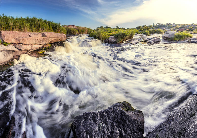 Rapid river shore. Beautiful nature south east of Ukraine Dnipropetrovsk, river, mountains, skirts royalty free stock photo