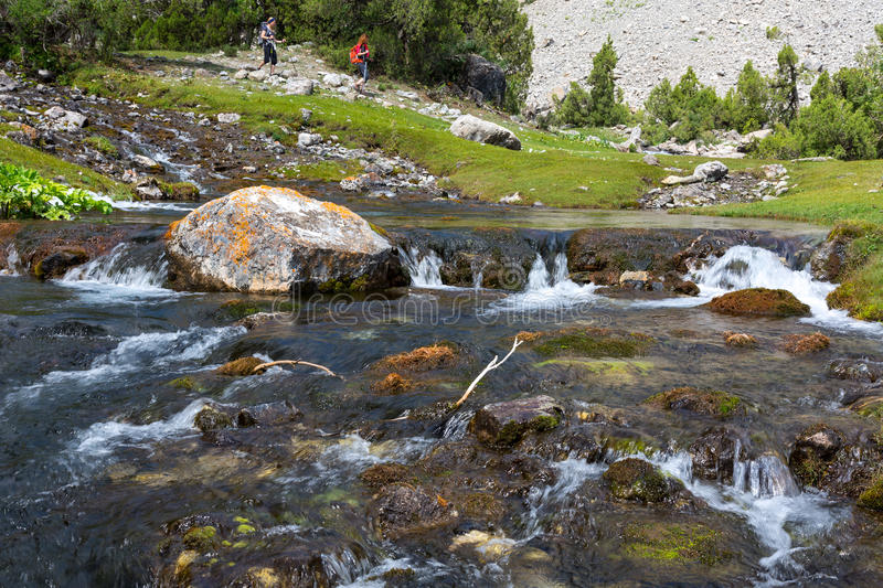 Rapid and wide cascade river royalty free stock image
