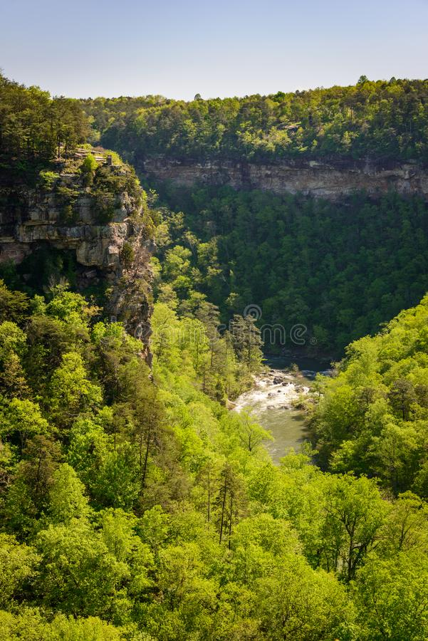 Rapids and Cliffs at Little River Canyon National Preserve stock photography
